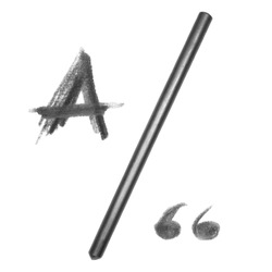 graphite pencil and letter A, isolated on white background  (with clipping path)