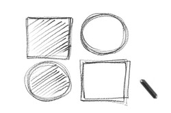 Graphite stick with circles and squares, geometry hatching, sketching isolated on white background, top view