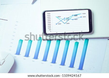Graphs and charts elements on phone screen  and statistical performance of the company. #1109424167