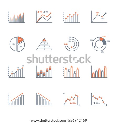 graphs and charts thin line icons set. data elements, bar and pie, diagrams for business infographics. visualization of data statistic and analytics. isolated on white background