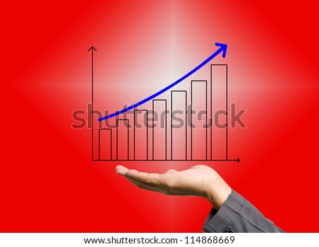 Graphs on the hands of businessmen