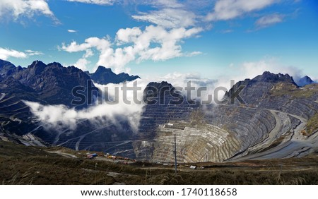 Grasberg Open Pit Mine, the highest open pit mine in the world, located in 4400masl, Papua Indonesia. you can still find the snow falls in some season every year