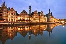 Graslei embankment in old town at dusk, Ghent (Gent), Belgium