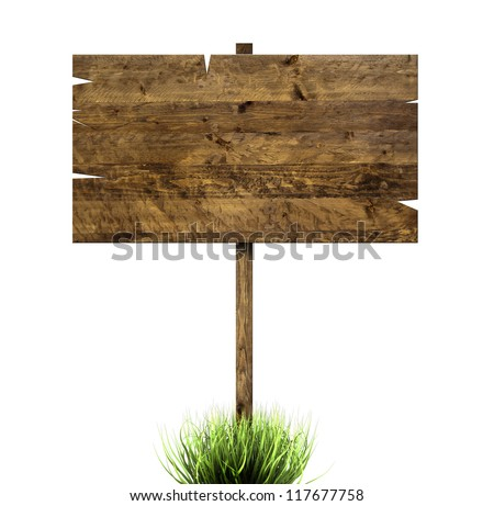 grass and a wooden sign isolated on a white background