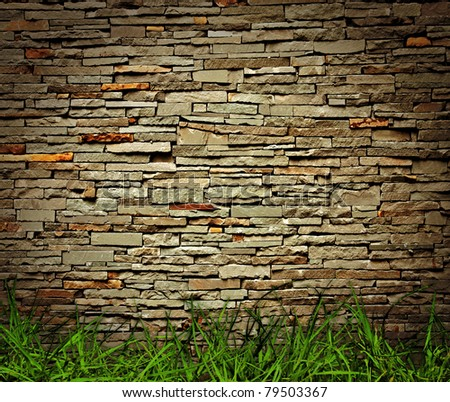 grass and brick wall background