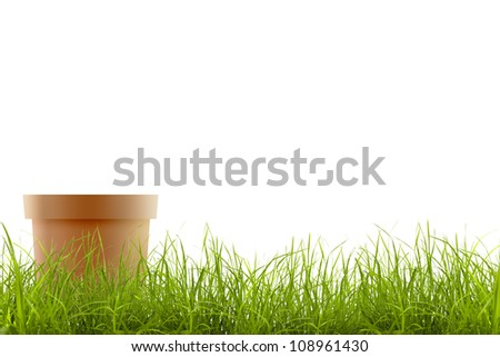 grass and garden pot isolated on white background