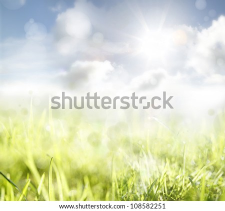 Grass and sky spring background