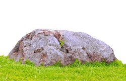 Grass and stone background on white background