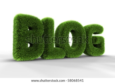Grass blog word isolated on white background, 3D rendering