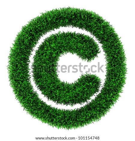 Grass copyright symbol, made of grass isolated on white background.
