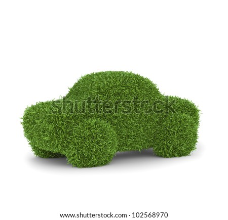 Grass covered car - green transport