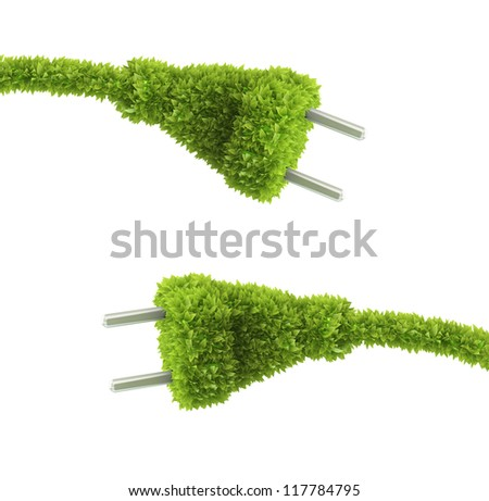 Grass covered electrical plug - renewable energy concept