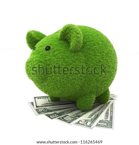 Grass covered piggy bank on top of money , ecology savings concept