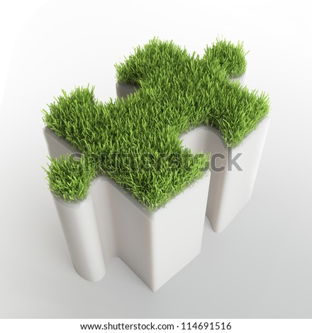 Grass covered puzzle piece - ecology development concept