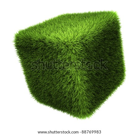 Grass cube isolated on white background, 3d render