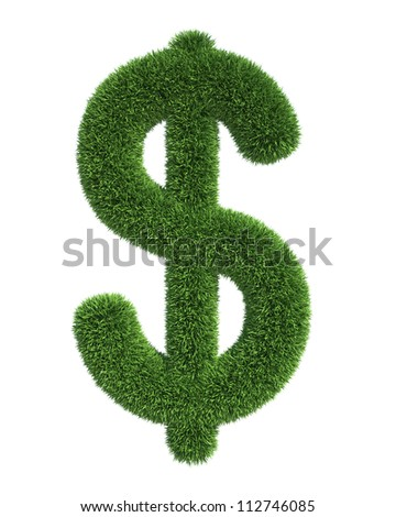 Grass dollar Symbolo - Isolated on White Background