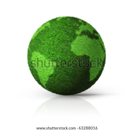 grass earth globe isolated on white - 3D ecology symbol