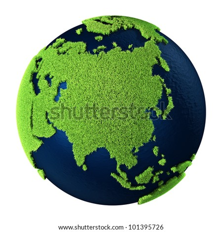 Grass Earth with blue oceans isolated on white background. Asia. 3d render