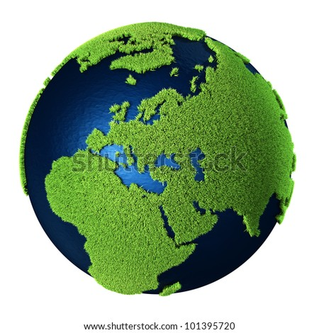Grass Earth with blue oceans isolated on white background. Europe. 3d render
