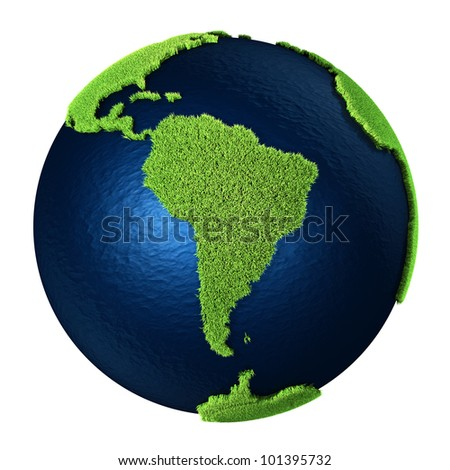 Grass Earth with blue oceans isolated on white background. South America. 3d render