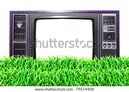 Grass field and space on vintage TV