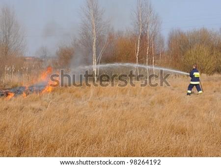 Grass fire in Poland.