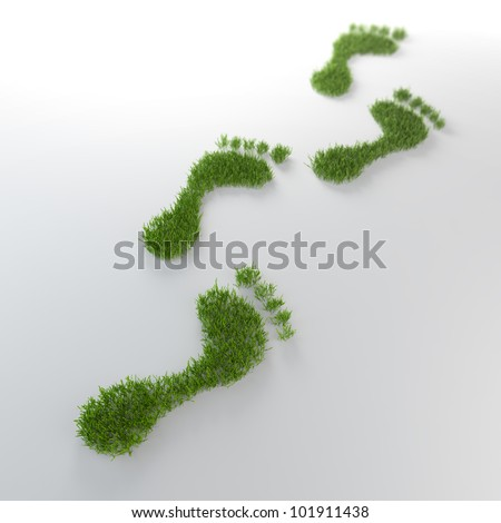 Grass footrpints - environmentla footprint concept - stock photo