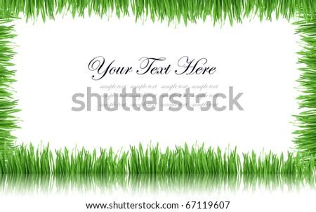 Grass frame on white - stock photo