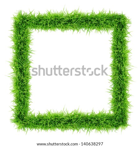 grass frame top view on white background