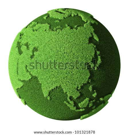 grass globe   asia  isolated on ...
