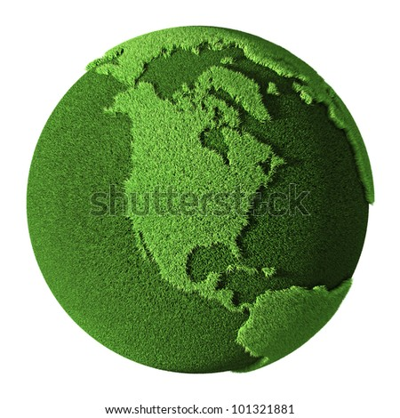 Grass Globe - North America, isolated on white background. 3d render