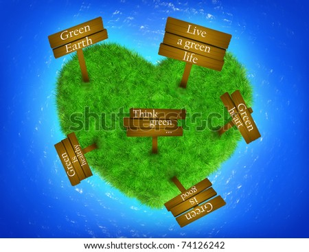 Grass heart-shaped island with signs