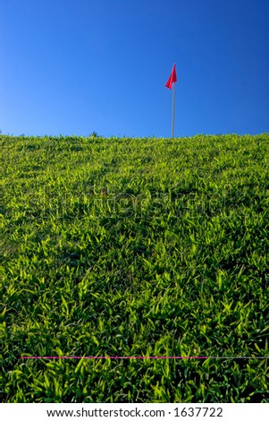 Grass hill with red flag and deep blue sky