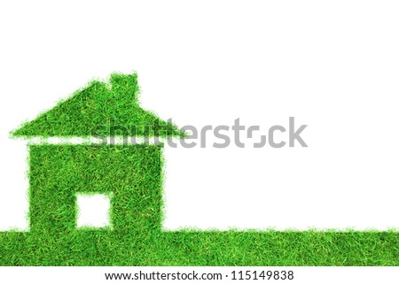 Grass home icon from grass background