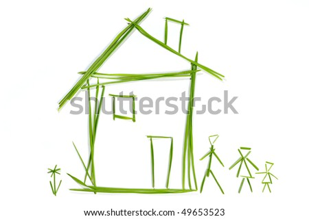 Grass House isolated on the white background