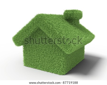 Grass house on a white background
