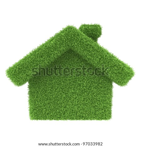 Grass house on a white background. 3d render icon