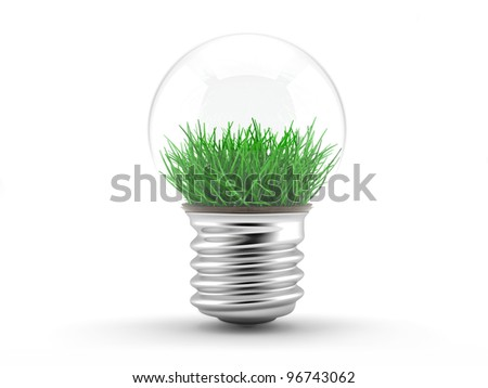 Grass in a lamp bulb - ecology concept. illustration on a white background.
