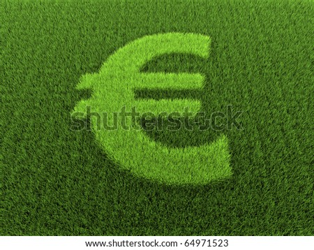 Grass in the shape of the euro sign, 3D render