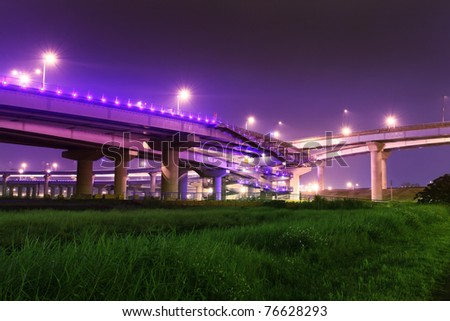 Grass Land under the High Way express Bridge at a cloudy night, Taipei, Taiwan