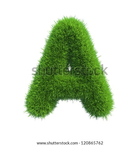 grass letter A isolated on white background