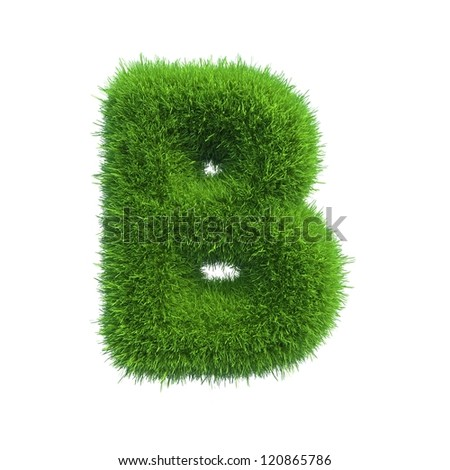grass letter B isolated on white background