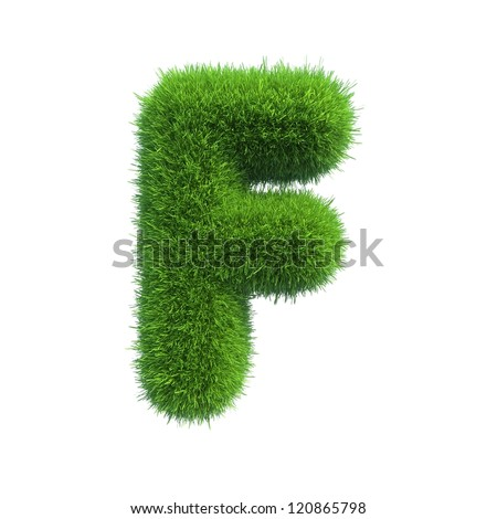 grass letter F isolated on white background