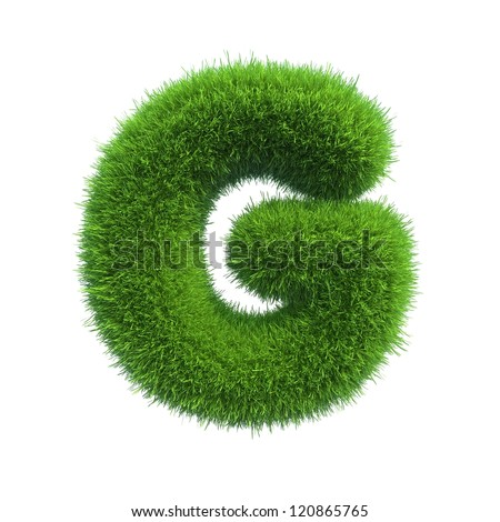 grass letter G isolated on white background