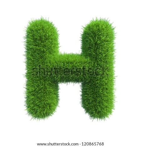 grass letter H isolated on white background