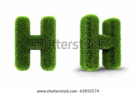Grass letter h, isolated on white background