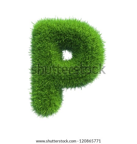 grass letter P isolated on white background
