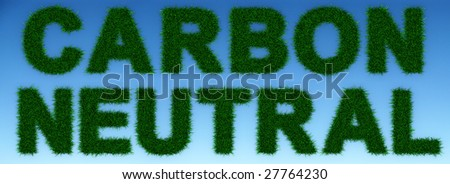 "Grass letters forming ""Carbon Neutral"" , on a clear blue sky background. Incredibly detailed 3d rendering"