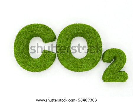 Grass letters spelling the word CO2