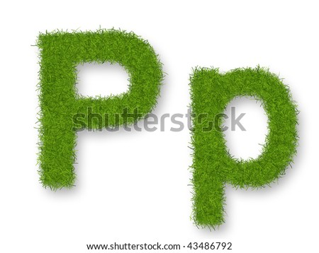 Grass lower-case and upper-case letter P